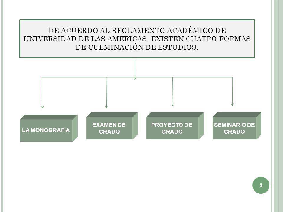 DE ACUERDO AL REGLAMENTO ACADÉMICO DE UNIVERSIDAD DE LAS AMÉRICAS, EXISTEN CUATRO FORMAS DE CULMINACIÓN DE ESTUDIOS: