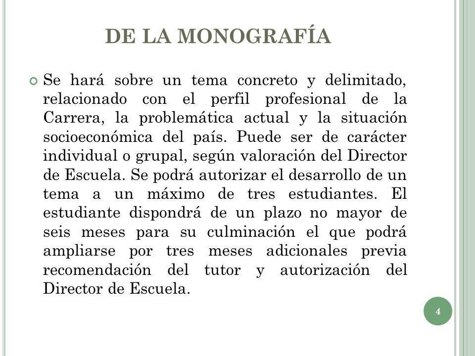 DE LA MONOGRAFÍA