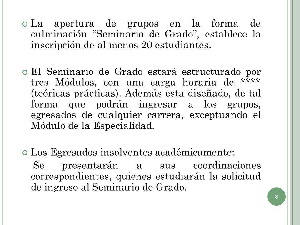 La apertura de grupos en la forma de culminación Seminario de Grado , establece la inscripción de al menos 20 estudiantes.