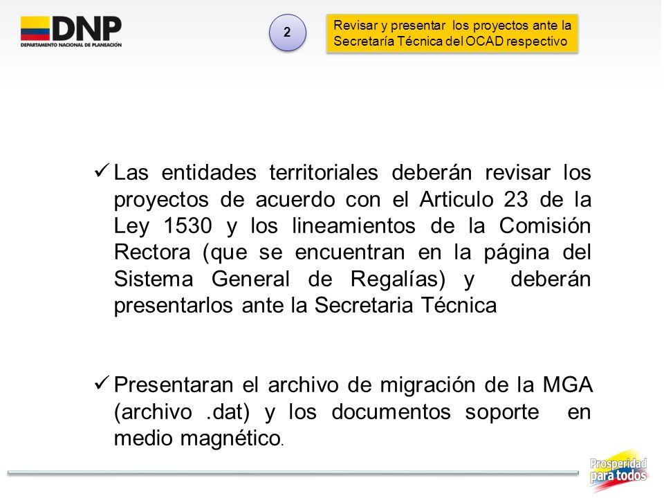 2 Revisar y presentar los proyectos ante la Secretaría Técnica del OCAD respectivo.