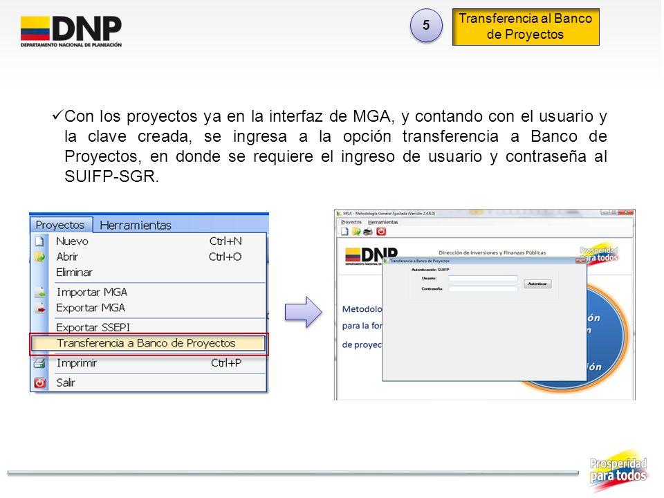 Transferencia al Banco de Proyectos