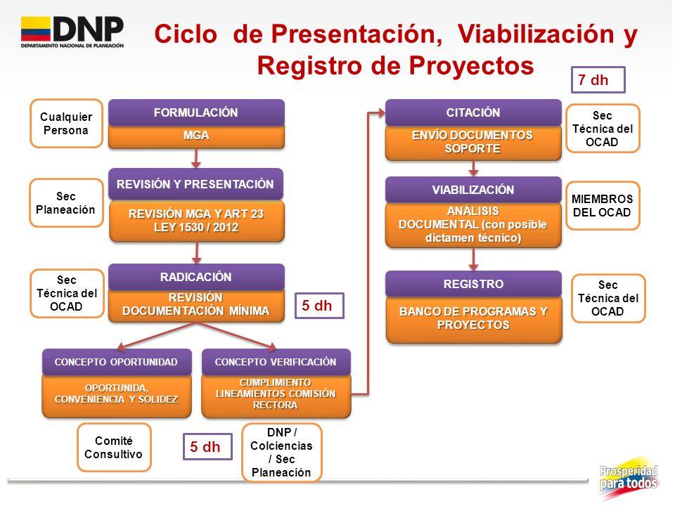 Ciclo de Presentación, Viabilización y Registro de Proyectos