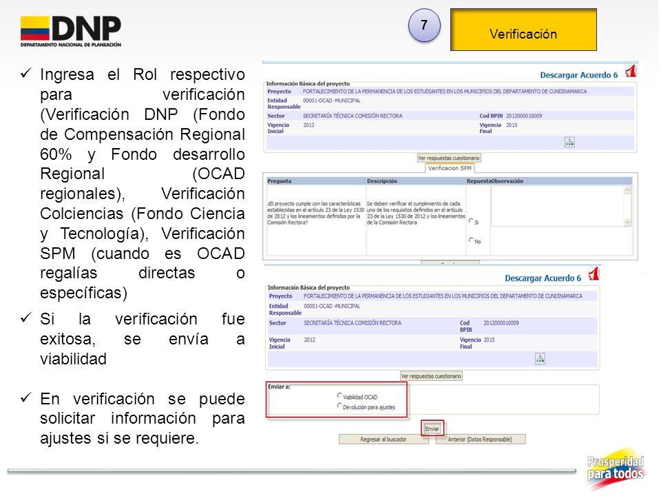 Si la verificación fue exitosa, se envía a viabilidad