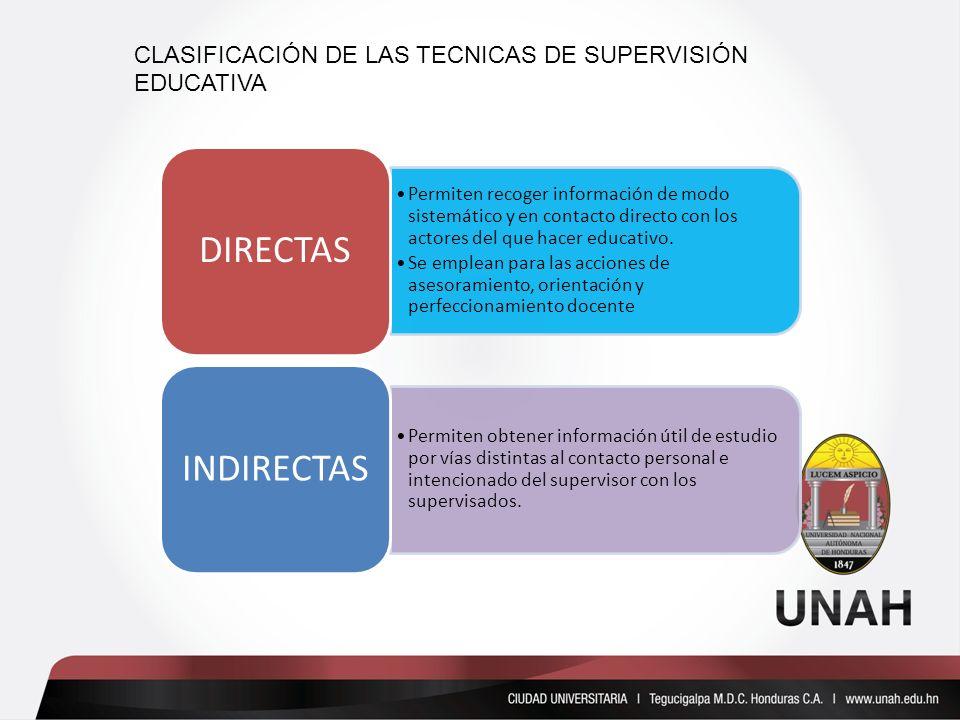 CLASIFICACIÓN DE LAS TECNICAS DE SUPERVISIÓN EDUCATIVA