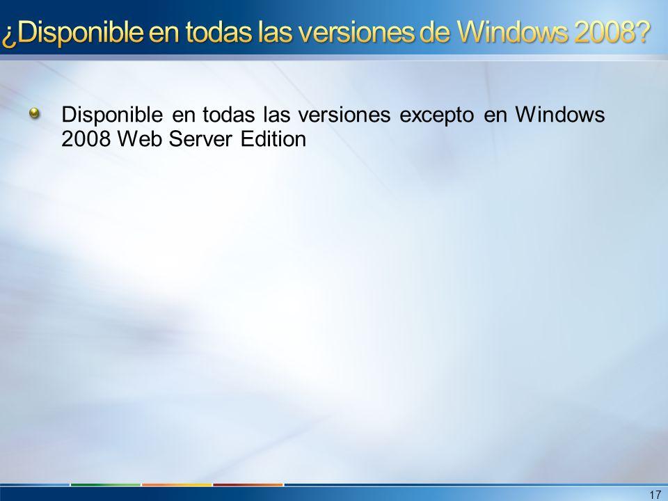 ¿Disponible en todas las versiones de Windows 2008