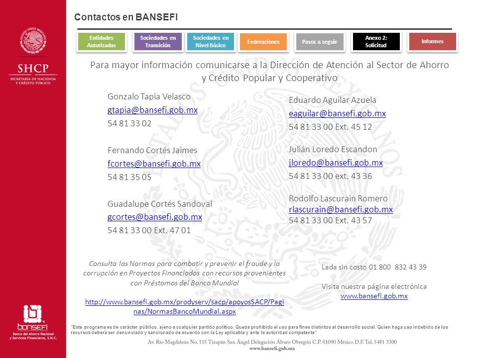 Contactos en BANSEFI Entidades Autorizadas. Sociedades en Transición. Sociedades en Nivel Básico.