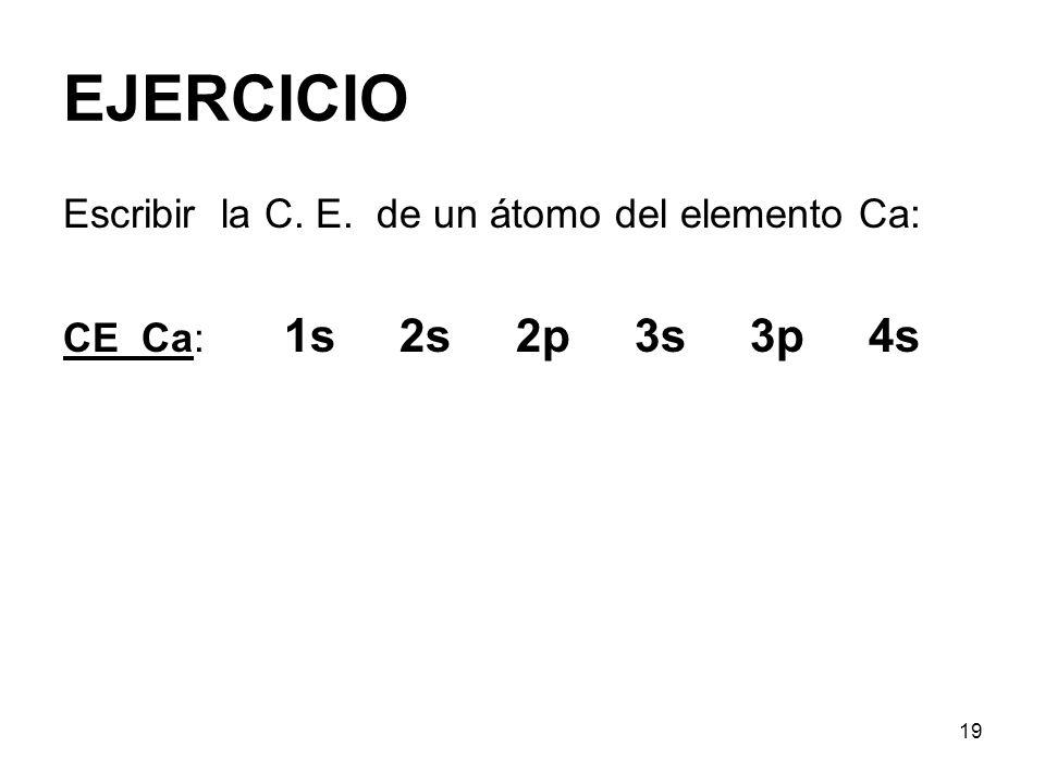 EJERCICIO Escribir la C. E. de un átomo del elemento Ca: