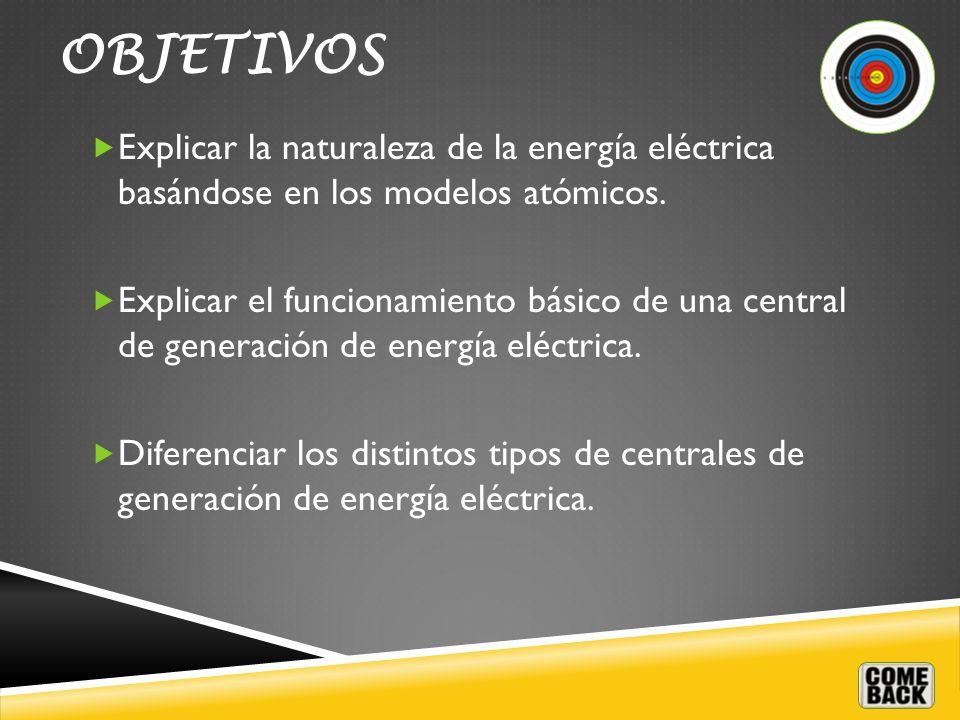 OBJETIVOS Explicar la naturaleza de la energía eléctrica basándose en los modelos atómicos.