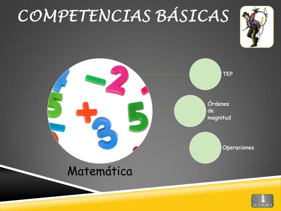 COMPETENCIAS BÁSICAS Matemática TEP Órdenes de magnitud Operaciones