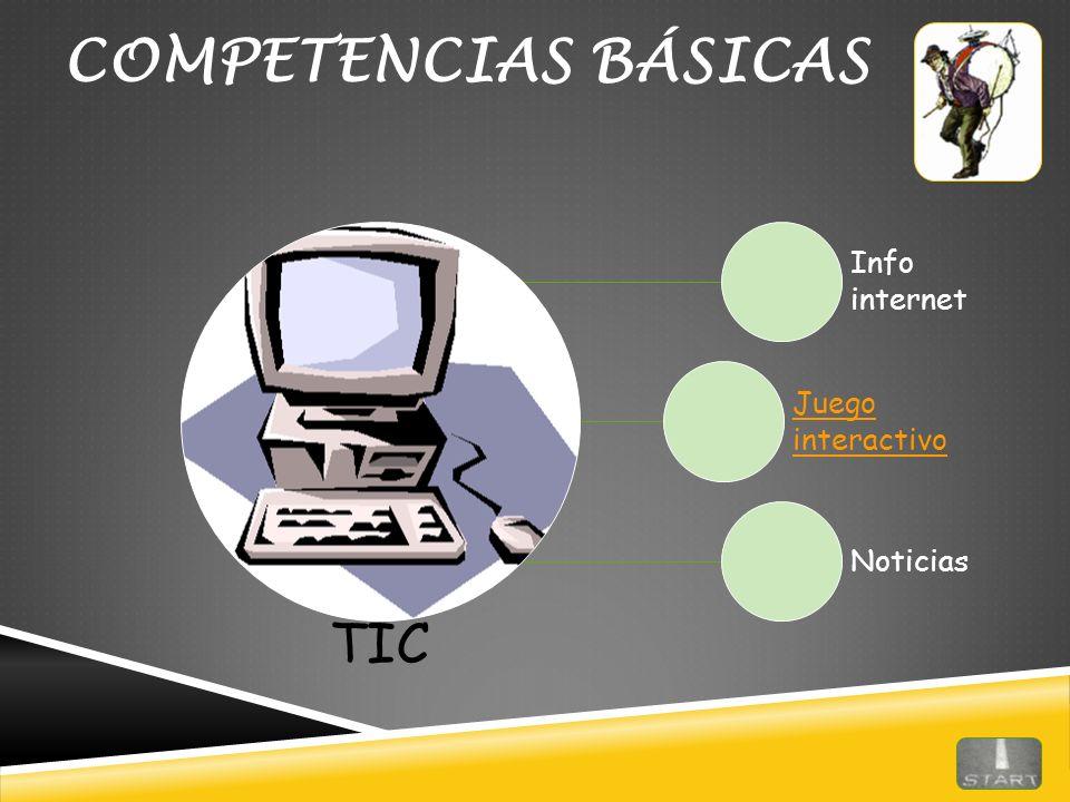 COMPETENCIAS BÁSICAS TIC Info internet Juego interactivo Noticias