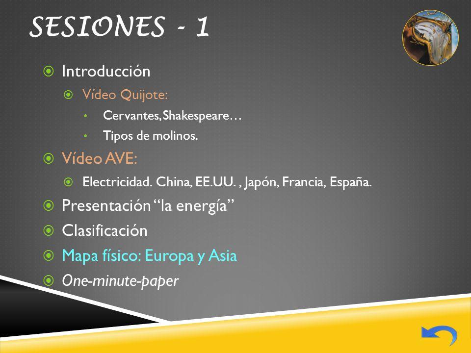 SESIONES - 1 Introducción Vídeo AVE: Presentación la energía