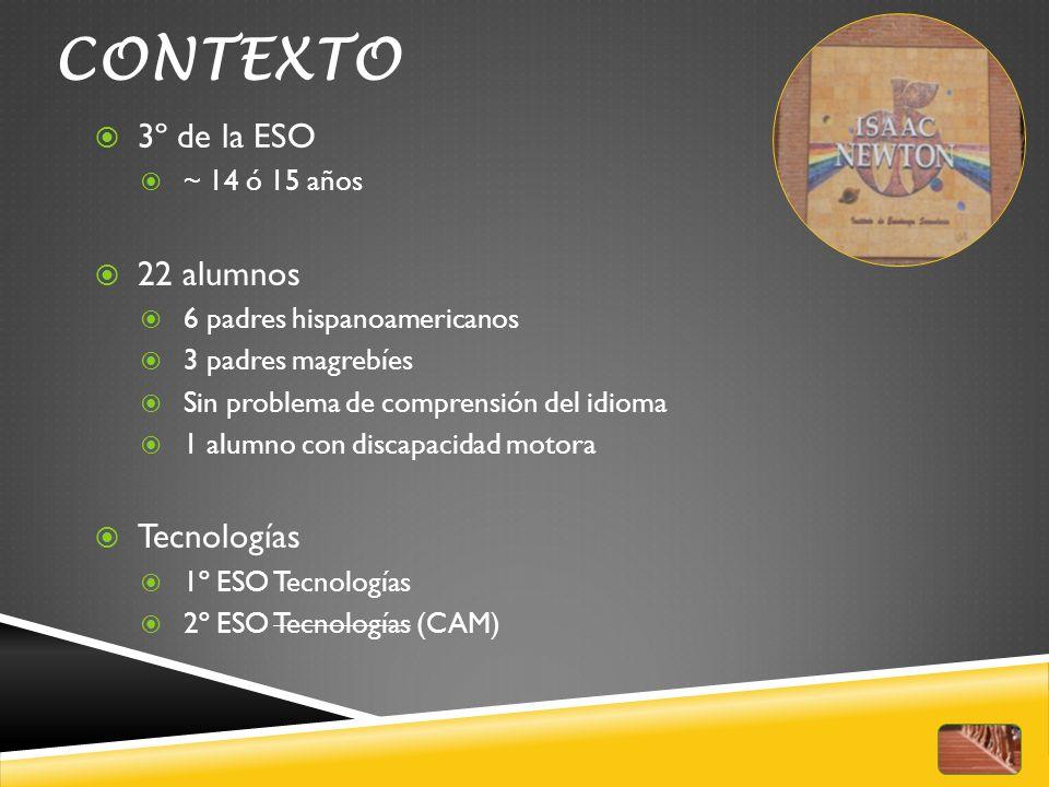 CONTEXTO 3º de la ESO 22 alumnos Tecnologías ~ 14 ó 15 años