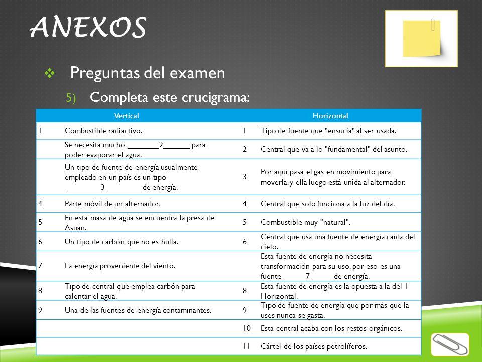 ANEXOS Preguntas del examen Completa este crucigrama: Vertical