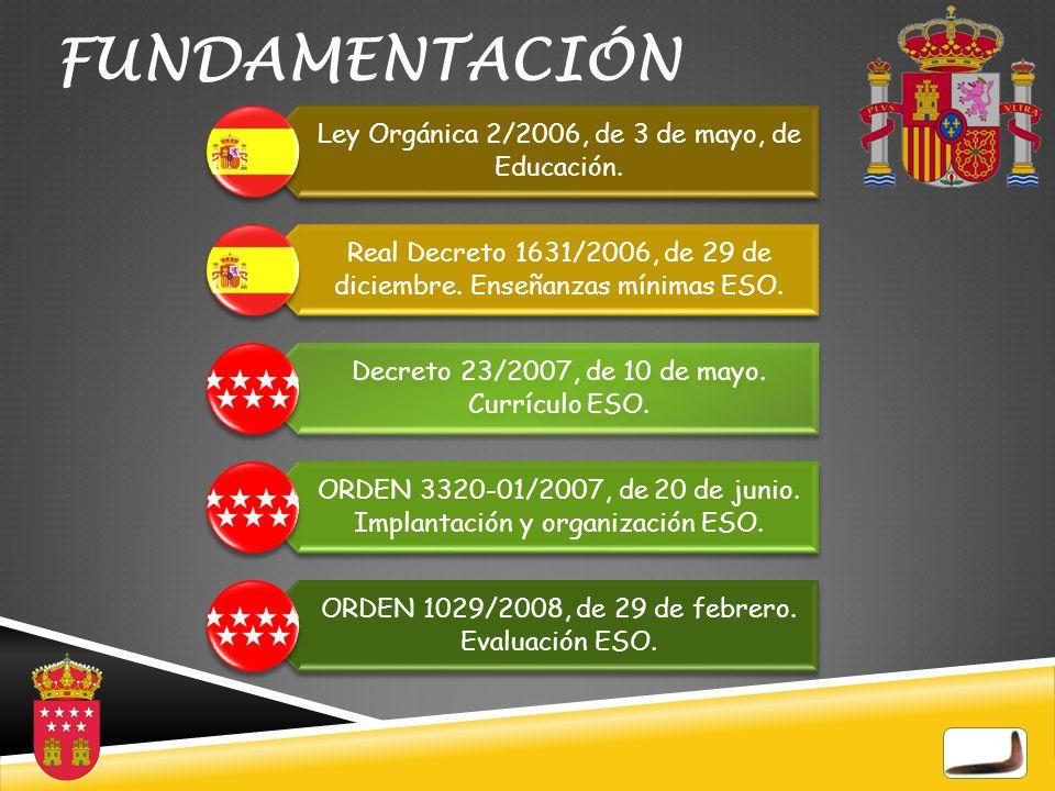 FUNDAMENTACIÓN Ley Orgánica 2/2006, de 3 de mayo, de Educación.