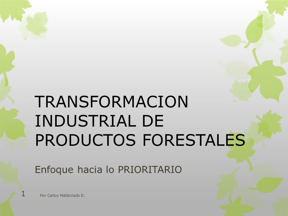 TRANSFORMACION INDUSTRIAL DE PRODUCTOS FORESTALES
