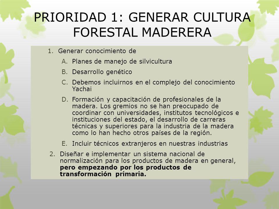 PRIORIDAD 1: GENERAR CULTURA FORESTAL MADERERA