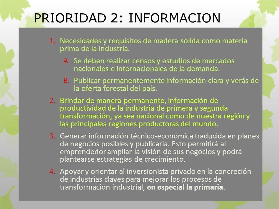 PRIORIDAD 2: INFORMACION