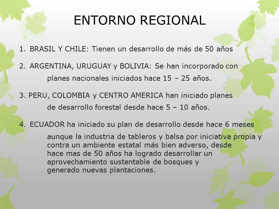 ENTORNO REGIONAL BRASIL Y CHILE: Tienen un desarrollo de más de 50 años. ARGENTINA, URUGUAY y BOLIVIA: Se han incorporado con.