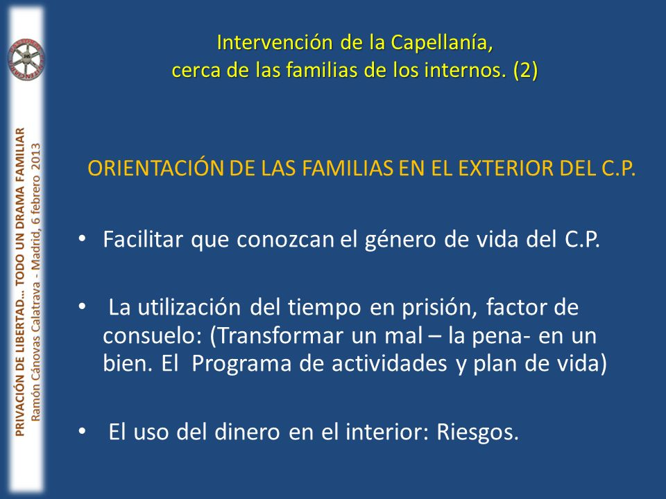 ORIENTACIÓN DE LAS FAMILIAS EN EL EXTERIOR DEL C.P.