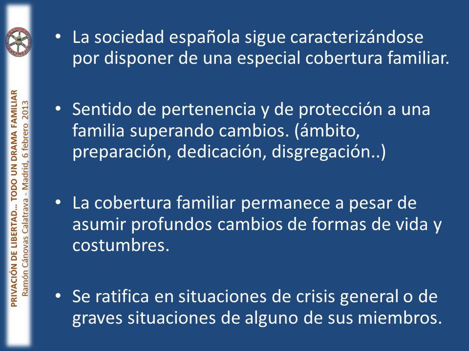 La sociedad española sigue caracterizándose por disponer de una especial cobertura familiar.