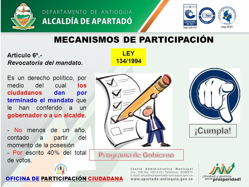 MECANISMOS DE PARTICIPACIÓN OFICINA DE PARTICIPACIÓN CIUDADANA