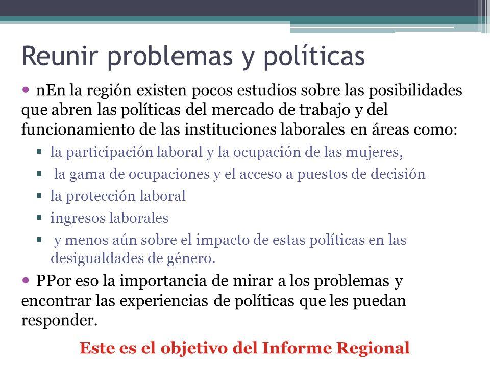 Reunir problemas y políticas