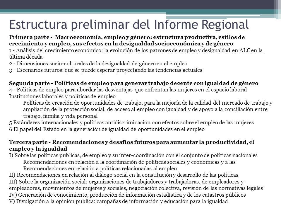 Estructura preliminar del Informe Regional
