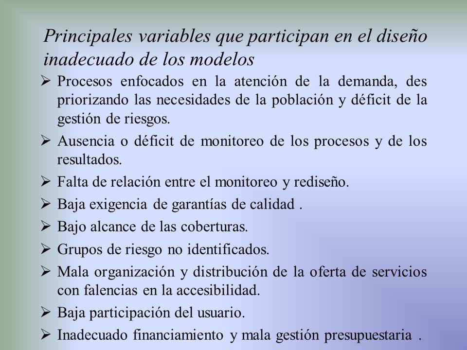 Principales variables que participan en el diseño inadecuado de los modelos