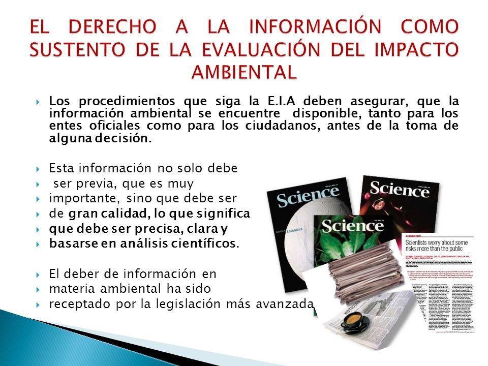 EL DERECHO A LA INFORMACIÓN COMO SUSTENTO DE LA EVALUACIÓN DEL IMPACTO AMBIENTAL