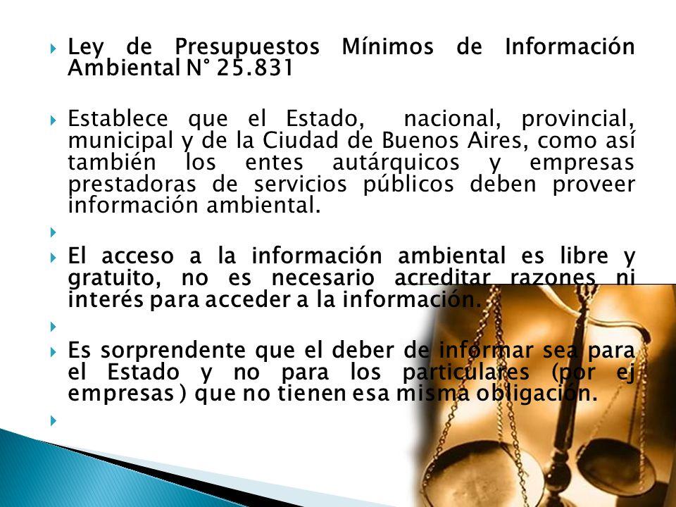 Ley de Presupuestos Mínimos de Información Ambiental N° 25.831