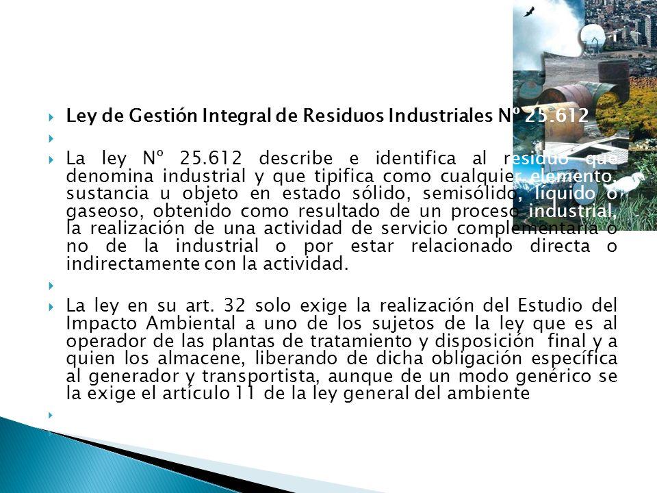 Ley de Gestión Integral de Residuos Industriales Nº 25.612