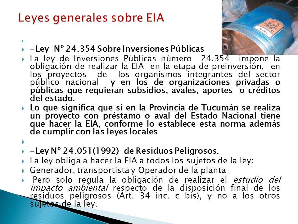 Leyes generales sobre EIA