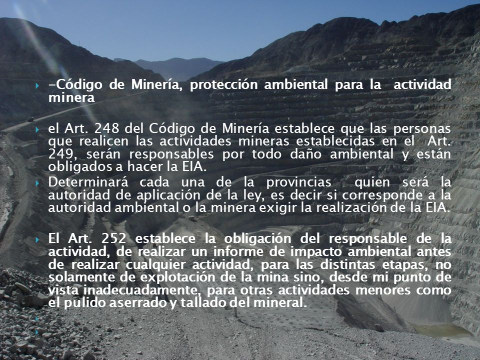 -Código de Minería, protección ambiental para la actividad minera