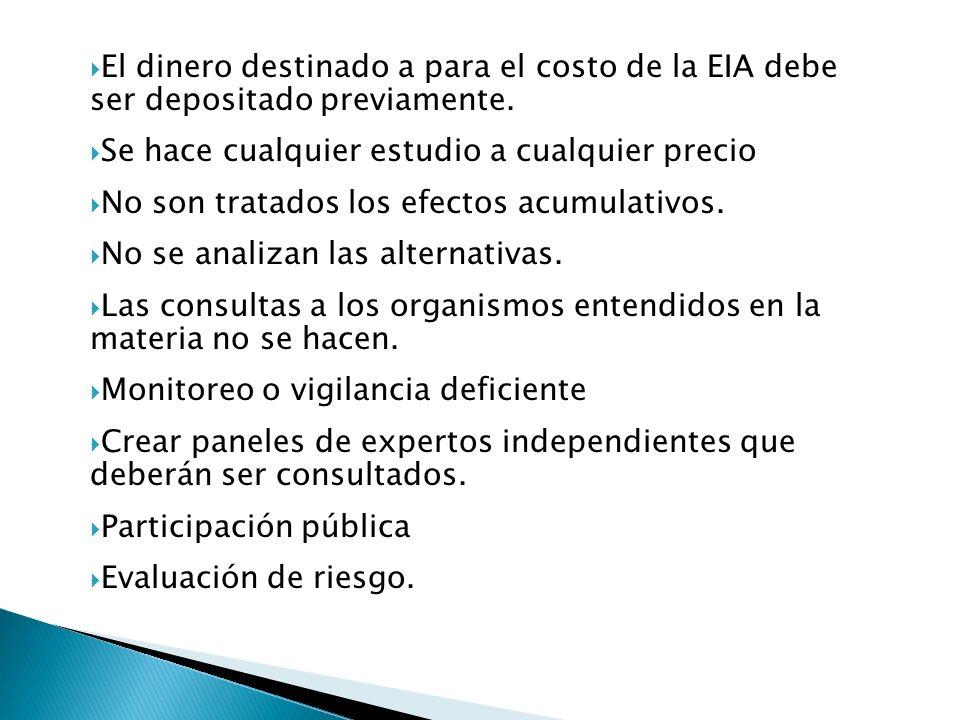 El dinero destinado a para el costo de la EIA debe ser depositado previamente.