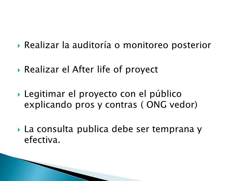 Realizar la auditoría o monitoreo posterior