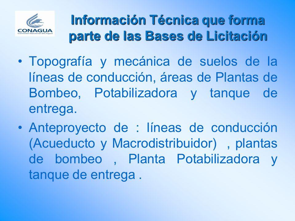 Información Técnica que forma parte de las Bases de Licitación