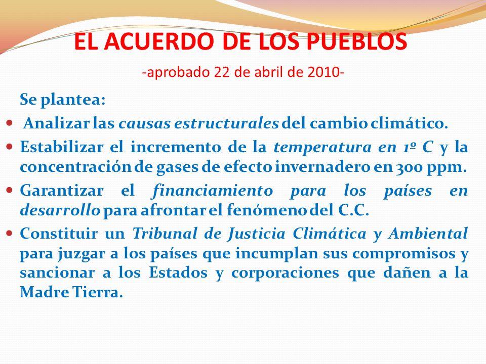EL ACUERDO DE LOS PUEBLOS -aprobado 22 de abril de 2010-