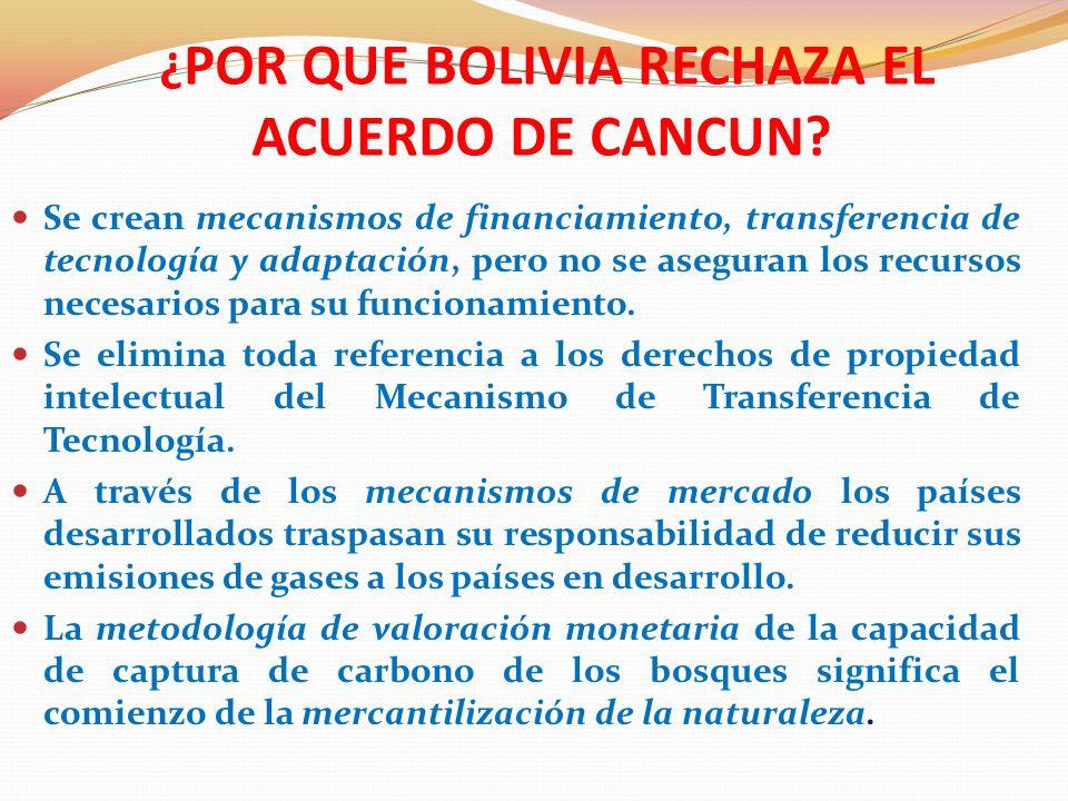 ¿POR QUE BOLIVIA RECHAZA EL ACUERDO DE CANCUN