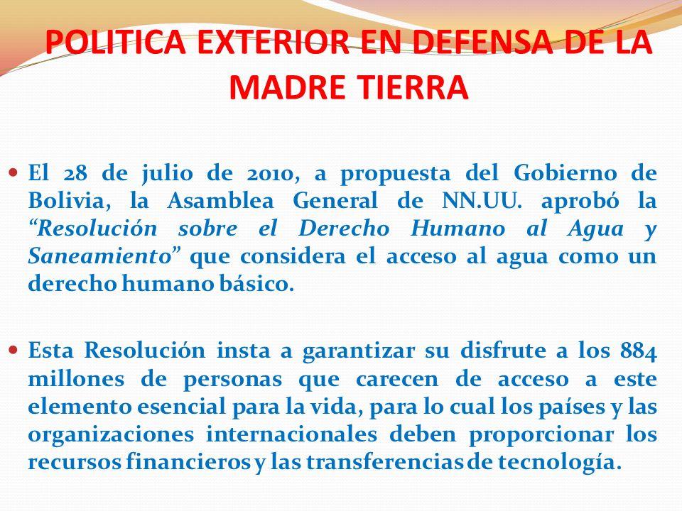 POLITICA EXTERIOR EN DEFENSA DE LA MADRE TIERRA