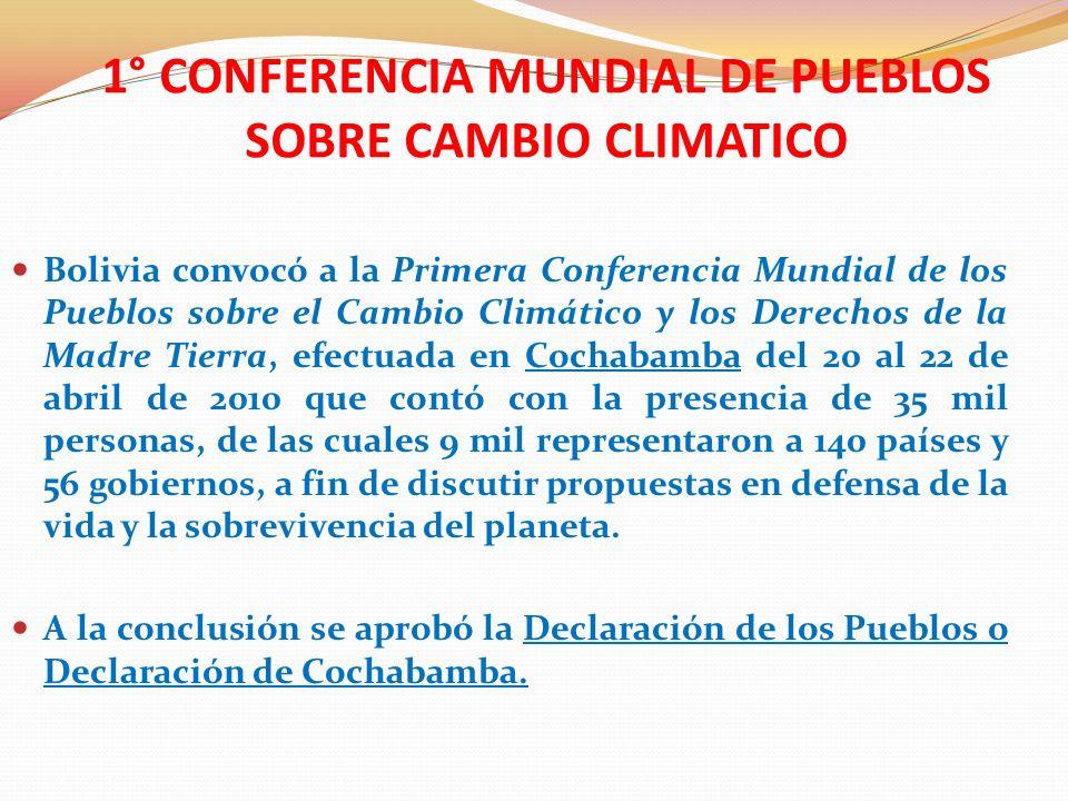 1° CONFERENCIA MUNDIAL DE PUEBLOS SOBRE CAMBIO CLIMATICO