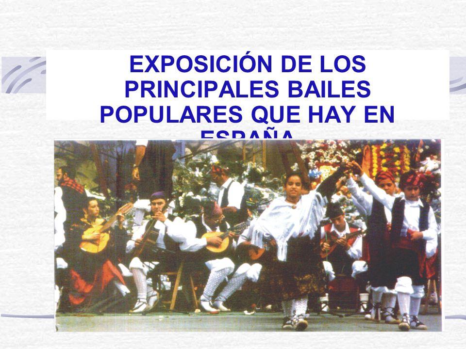 EXPOSICIÓN DE LOS PRINCIPALES BAILES POPULARES QUE HAY EN ESPAÑA