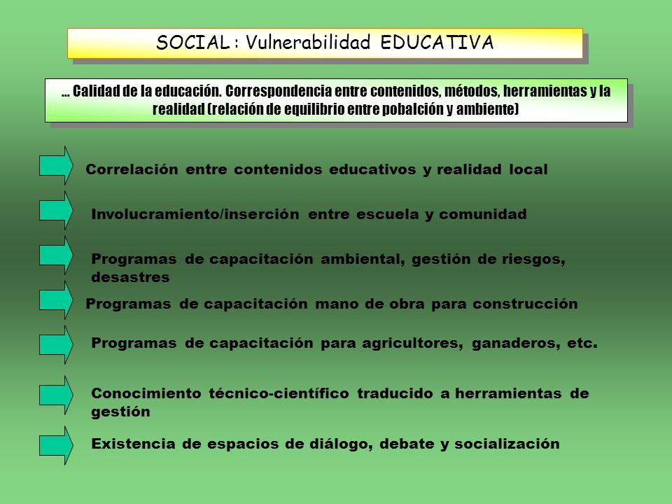 SOCIAL : Vulnerabilidad EDUCATIVA