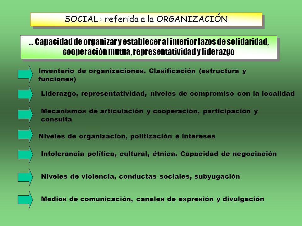 SOCIAL : referida a la ORGANIZACIÓN