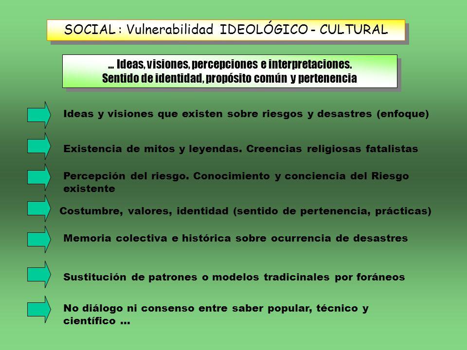 SOCIAL : Vulnerabilidad IDEOLÓGICO - CULTURAL