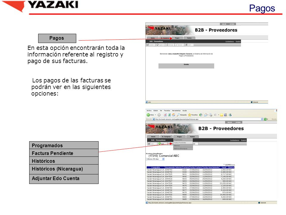 Pagos Pagos. En esta opción encontrarán toda la información referente al registro y pago de sus facturas.