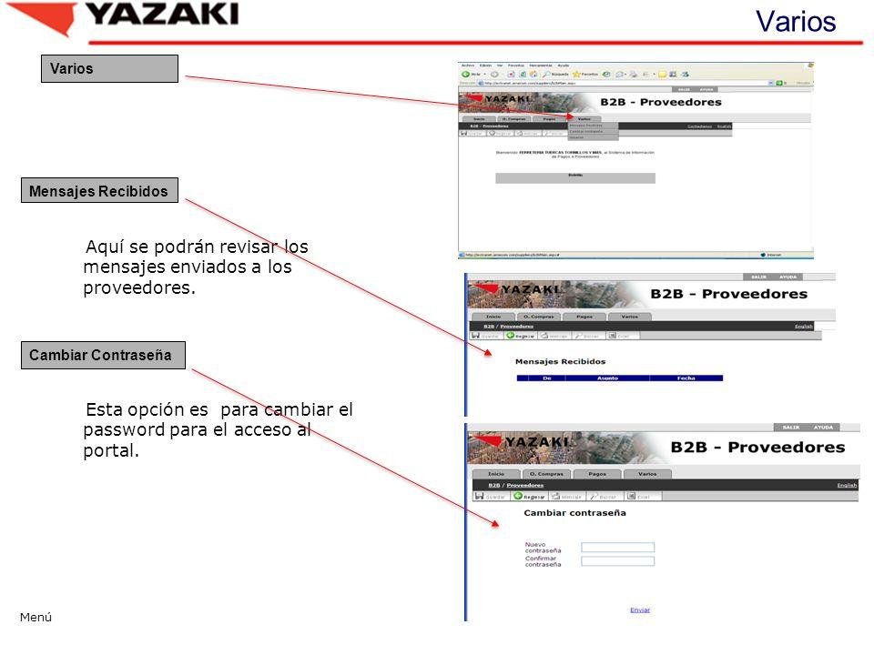 Varios Aquí se podrán revisar los mensajes enviados a los proveedores.