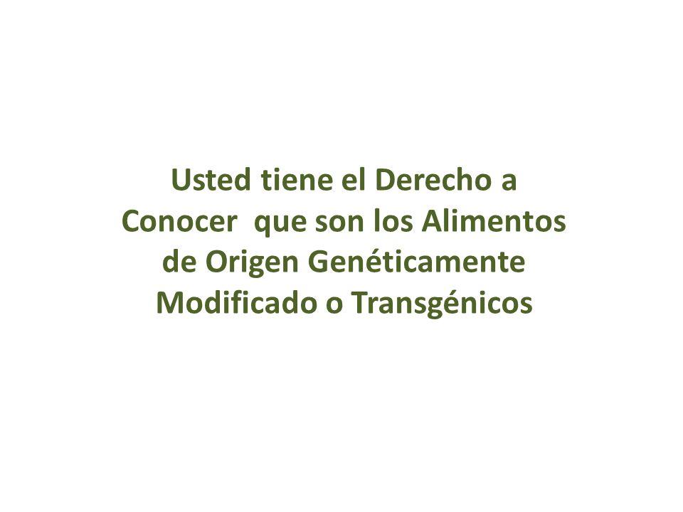 Usted tiene el Derecho a Conocer que son los Alimentos de Origen Genéticamente Modificado o Transgénicos