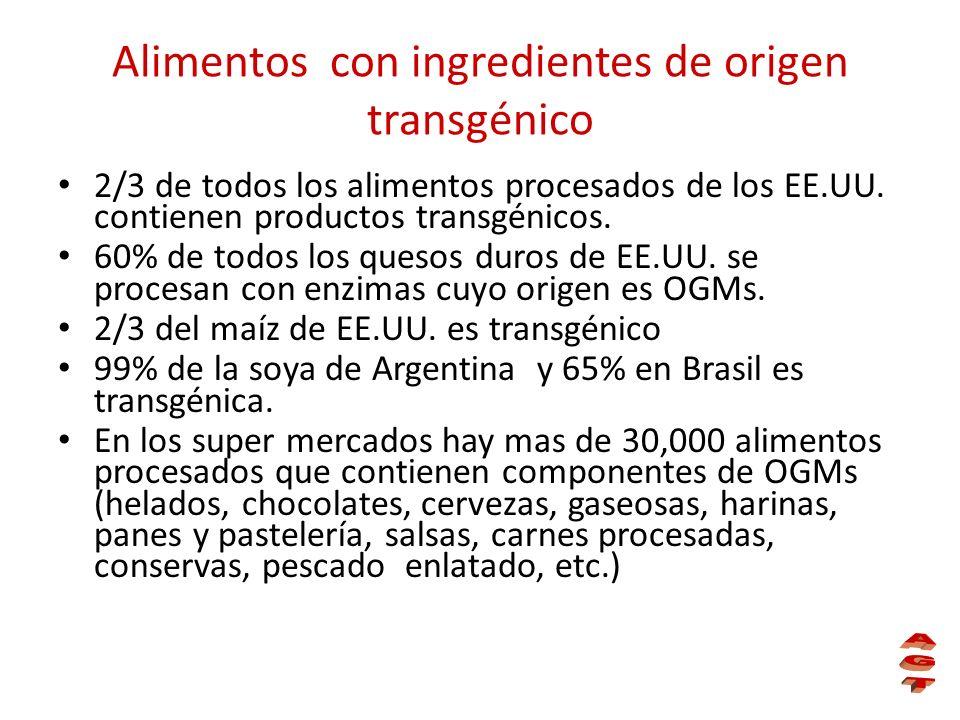 Alimentos con ingredientes de origen transgénico