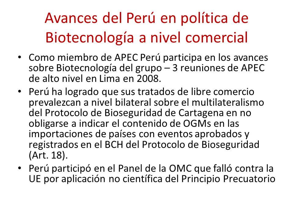 Avances del Perú en política de Biotecnología a nivel comercial