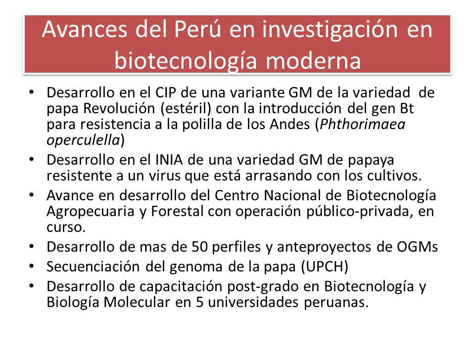 Avances del Perú en investigación en biotecnología moderna